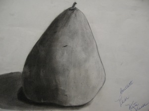 Charcoal sketch: Pear